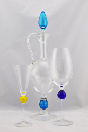 Pitcher drinking glasses flute and wine size turquoise blue and yellow