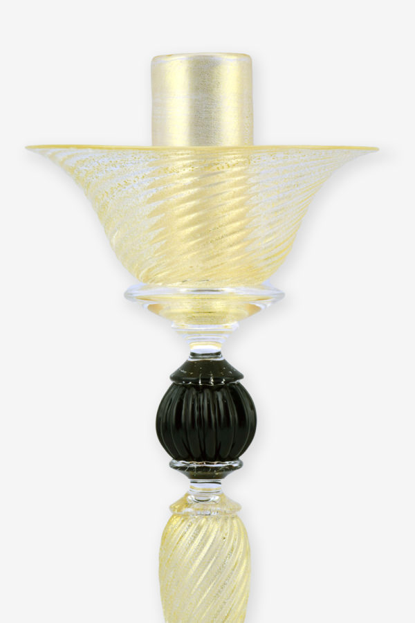Ridged candlesticks with black ball detail