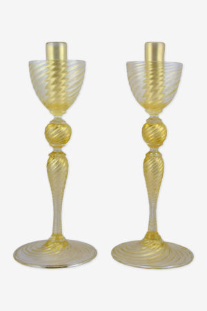 Ridged candlesticks golden ball