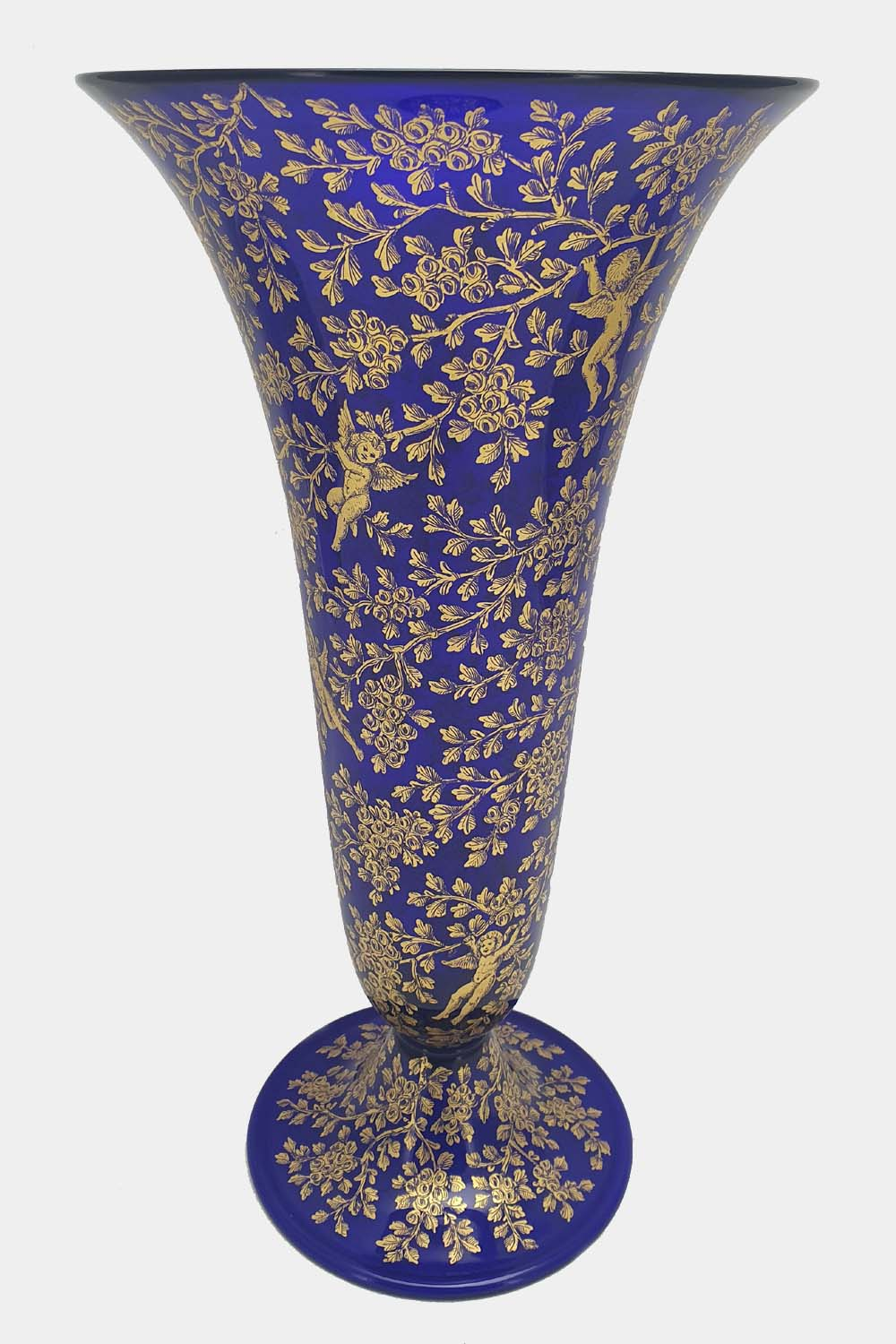 Blue vase gold graffito playing cupids (1)