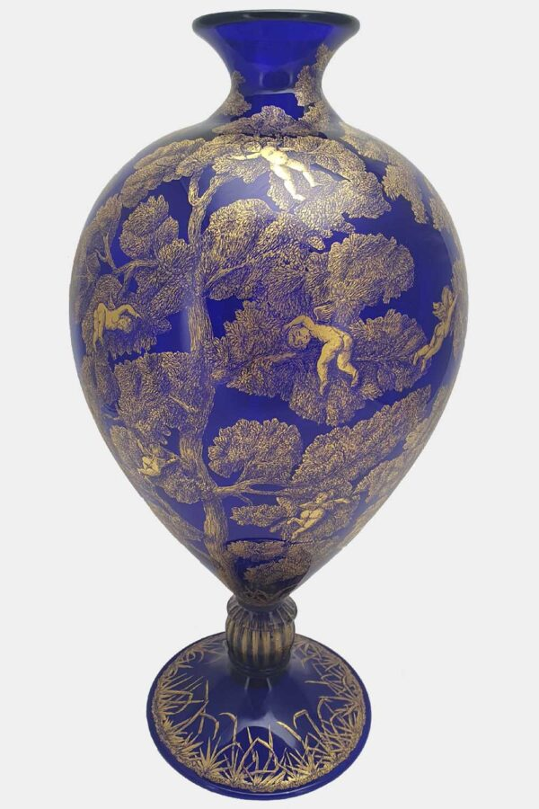 Blue veronese vase gold graffito cupids on a tree (1)