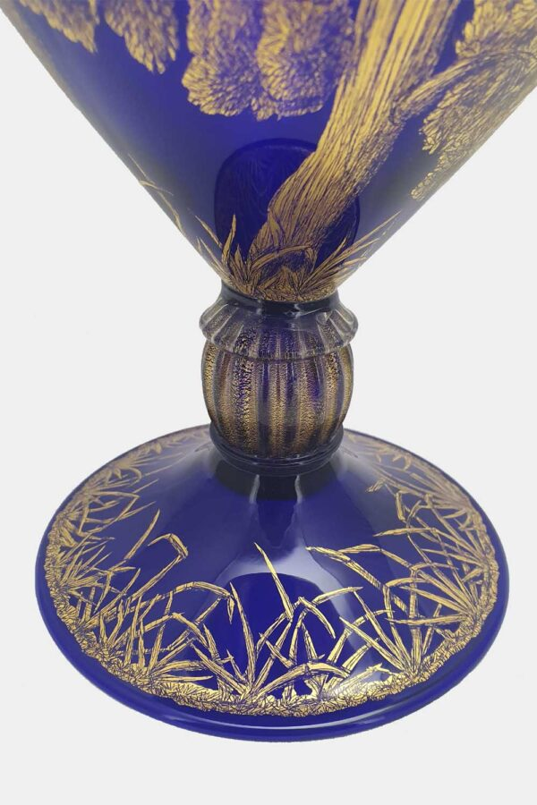 Blue veronese vase gold graffito cupids on a tree (2)