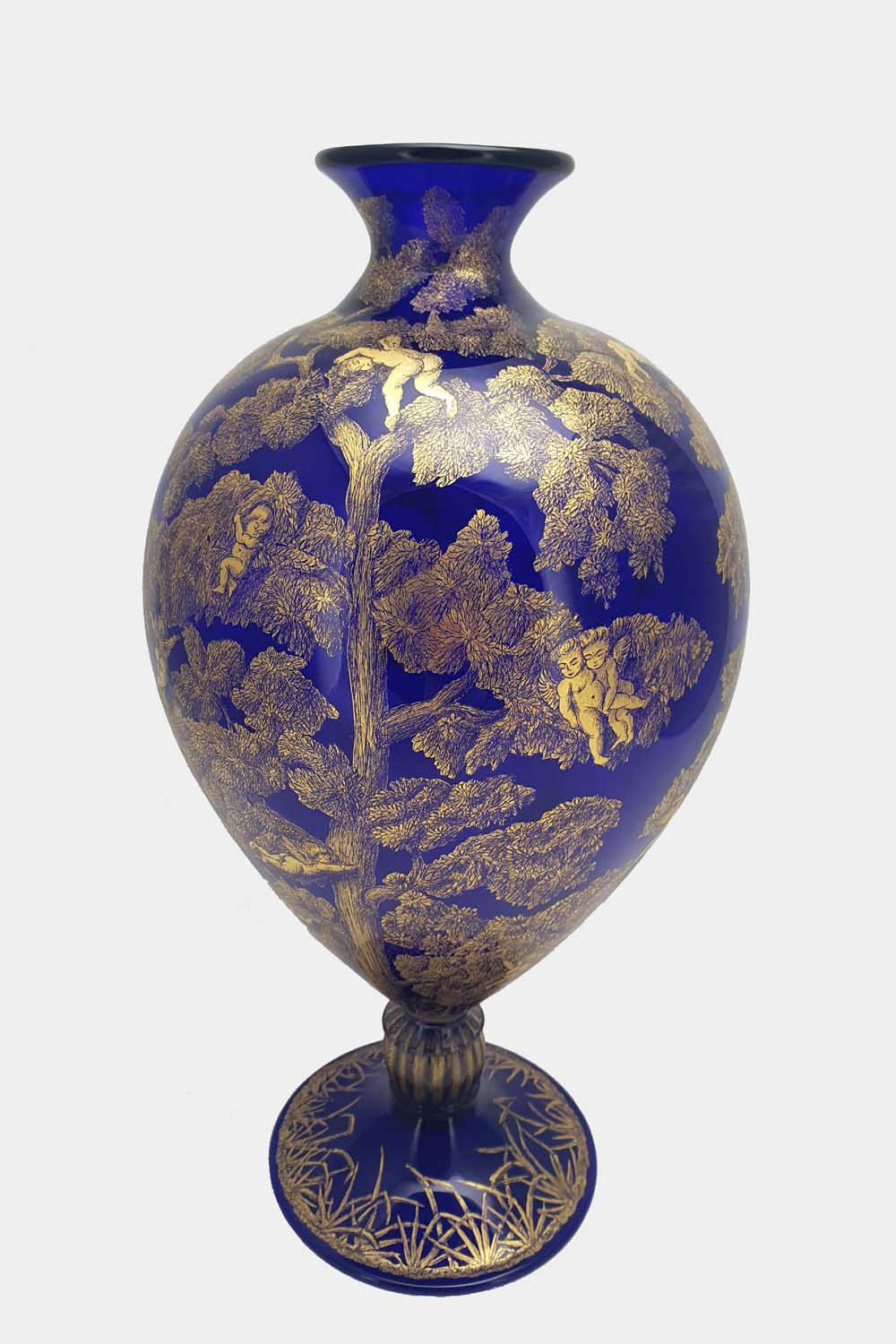 Blue veronese vase gold graffito cupids on a tree (3)