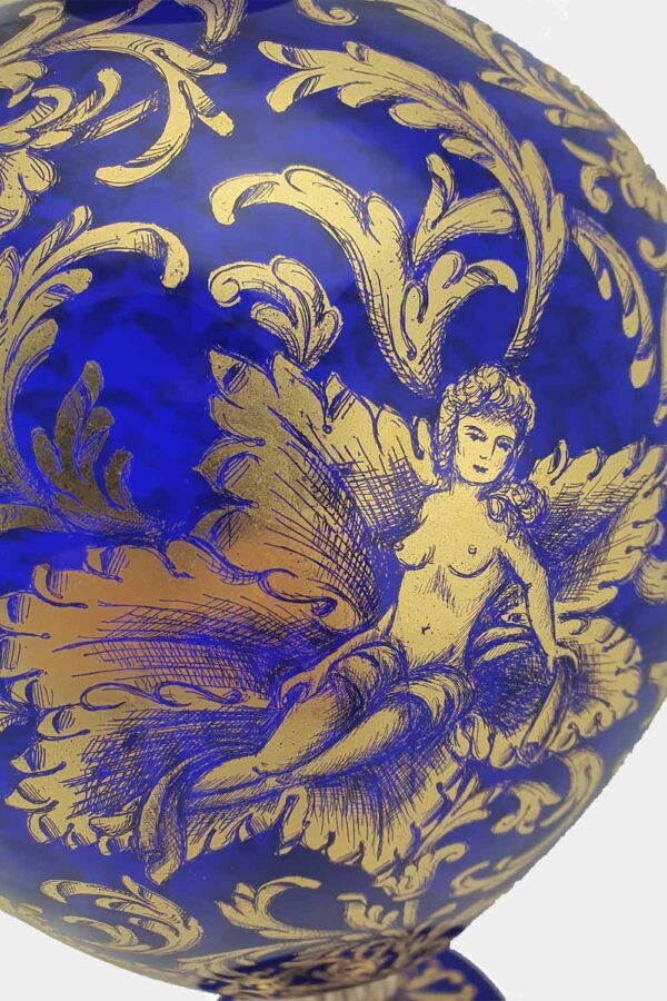 Blue veronese vase with gold graffito nymphs (5)